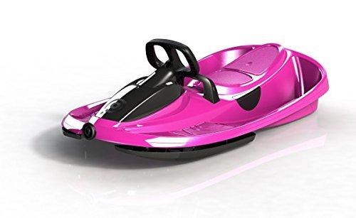 Slittino biposto colore rosa, slittino 2 posti con volante e freno, bob a 2 con portata max 120 kg, slittino da neve 2 posti con sistema di riavvolgimento automatico, slittino con sterzo differenziale