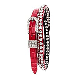 Fiery Red Skinny Crystal and Silver Tone Studded Genuine Leather Belt, M/L