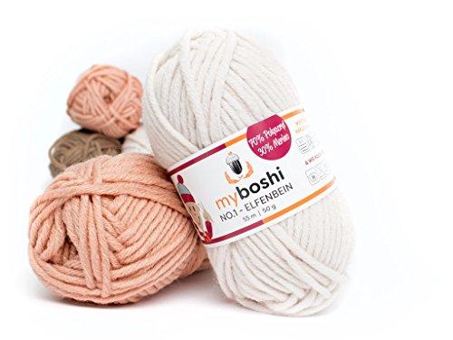Myboshi (192 elfenbein) Merino Wolle / Acrylgarn No. 1 zum stricken, häkeln und für die Handarbeit (55m/50gr)
