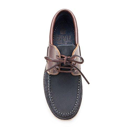 Zerimar Chaussure en cuir nautique avec semelle en caoutchouc flexible 100% cuir premium Marquage design de mode Doublure intérieure Bleu Marine