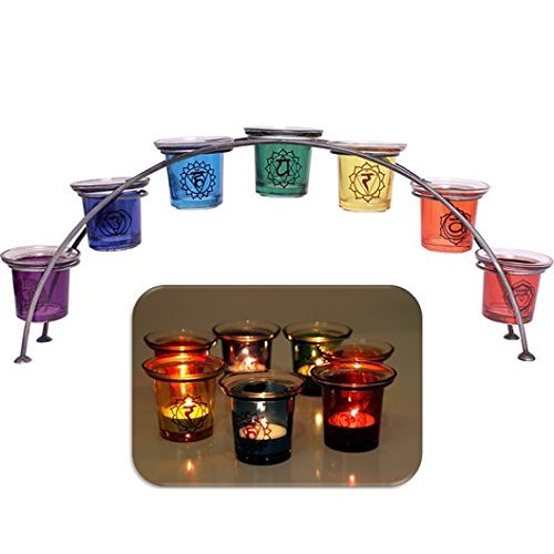 Large-46cm-glass-reiki-chakra-rainbow-arch-tealight-votive-candle-holder-gift-7-holders