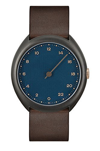 slow O 14 - Dark Brown Vintage Leather, Anthracite Case, Blue Dial Analog Leder Dunkelbraun slow O 14
