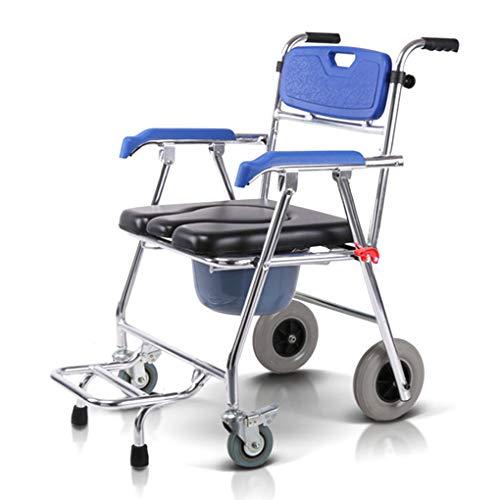 QQXY*-com Rollkommode, Faltbarer Rollstuhl, Aluminiumlegierung, Bewegung 360 ° Universalrad mit Bremse, schöner und langlebiger Faltbarer mobiler Stuhl, rutschfeste Matte (Stuhl-matte Faltbarer)