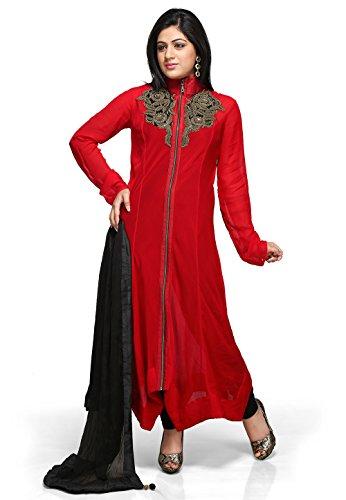 Utsav Fashion Women's Red Faux Georgette Readymade Asymmetric Churidar Kameez-Small