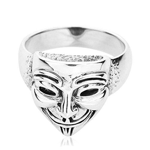 AnazoZ Schmuck Herren Ring 925 Sterling Silber Verlobungsringe Maske Jahrestag Bandring für Männer Junge Gr.63 (20.1)