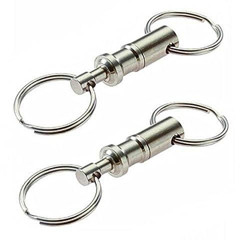 Apart Porte-cles - SODIAL(R) 2pcs Heavy Duty Double Porte-cles Pull Apart Snap Lock Support d'anneau Tournant