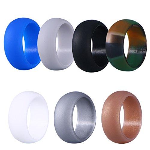 ikon Paare Liebhaber Ringe Hochzeit Ringe Gummi Eheringe Für Männer 19,8mm (10 Camouflage, Golden, Silber, Schwarz, Grau, Weiß, Blau) ()