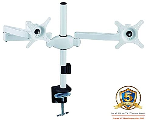 AM05 White Double Twin Arm LCD LED Monitor Desk Mount