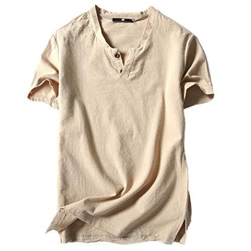 Lino e cotone manica corta maglietta landfox tinta unita cotone t-shirt maglietta uomo v-collo moda casual manica corta t-shirt con scollo a v maniche corte in cotone e lino casual da uomo