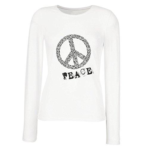 (Weibliche Langen Ärmeln T-Shirt FRIEDENSsymbol - 1960er Jahre 1970er Jahre Hippie Hippie, Street-Kleidung, Friedenszeichen, Sommer Festival Hipster Swag (Large Weiß Mehrfarben))
