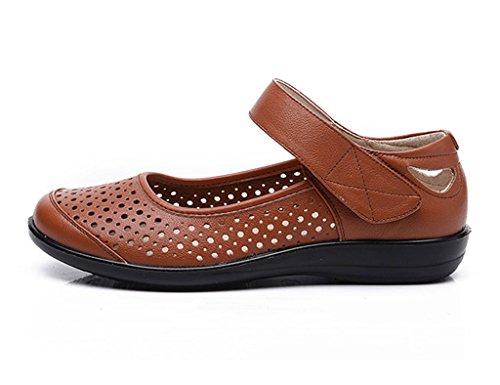 HWF Chaussures femme Été Antidérapant Doux Vieil Peuple Sandales Chaussures Femmes Plat Frais Moyen-âge Mère âgée En Cuir Véritable Femelle ( Couleur : Vin rouge , taille : 35 ) Jaune Terreux