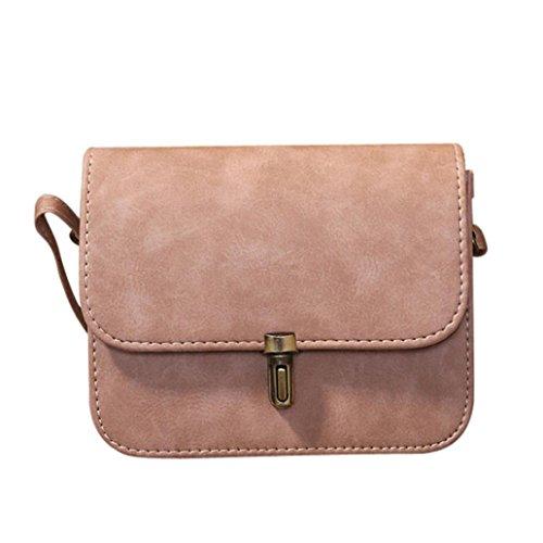UFACE Modische Weibliche Kugel Lock Leder Schulter Messenger Bag Frauen Dame Satchel Handtaschen Taschen Kurier Crossbody Tasche (Rosa)