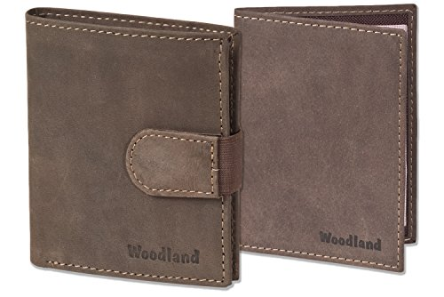 Woodland® - Super-Kompakte Geldbörse mit XXL-Kreditkartentaschen für 18 Karten aus naturbelassenem Büffelleder+ KFZ-Scheinetui in Dunkelbraun/Taupe, Dunkelbraun