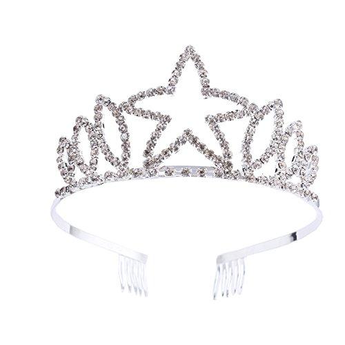 Santfe Princesa Tiara Coroa Diadema Pelo con Rhinestones Para Boda Novia