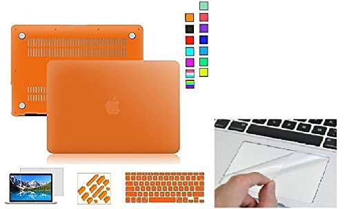 """Go Crazzy Macbook Pro 13-Inch With Retina Display Case Cover with Silicone Keyboard Cover, LCD HD Clear Screen Protector and 12pcs Dust plug +Touchpad Protector For Macbook Pro 13"""" 13.3"""" 13-nch With Retina DisplayA1502/A1425/MD212/MD213/ME864/ME865/ME866 (orange)"""