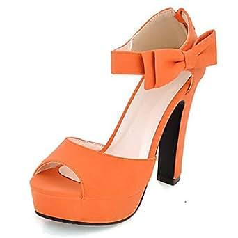 Minetom Donne Ragazze Elegante Sandali Tacco Alto Sandali Con Bowknot Peep Toe Scarpe Arancione 35