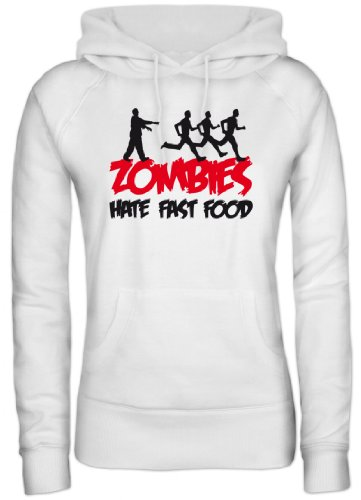 Shirtstreet24, ZOMBIES HATE FAST FOOD, Halloween Zombie Lady / Girlie Kapuzen Hoodie Pullover, Größe: S,Weiß (Dead Womens Walking Halloween-kostüme)