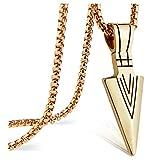 suyi Herren Retro Halskette Speerspitze Anhänger Rolo Kabel Kette Pfeilspitze Form Halskette Gold