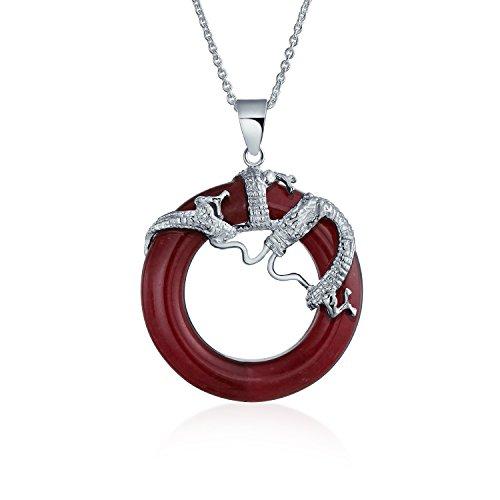Runde Open Circle Disc Rot Gefärbten Jade Drachen Anhänger Halskette Für Frauen 925 Sterling Silber ()