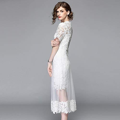 QUNLIANYI abikleider lang Blumen-weißes Spitze-Kleid-Patchwork-Ineinander greifen höhlen heraus langes Kleid-Frauen-Tüll-Gaze   Plus Größen-Kleid XXL aus -