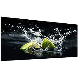 decorwelt | Couvertures de cuisinière 90 x 52 cm 1 pièce Vert Fruits Couverture en céramique Universelle Protection Anti-éclaboussures en Verre décoratif pour plaques de Cuisson