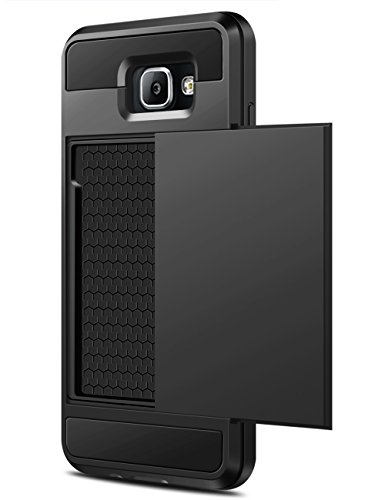 Samsung Galaxy A5 (2016) Hülle, Coolden® Prämie 2 Kartenfach Wallet Case Outdoor Stoßfest Silikon TPU + Hard PC Schutzhülle für Samsung A5 2016 Handyhülle Samsung Galaxy A5 Cover(Schwarz)