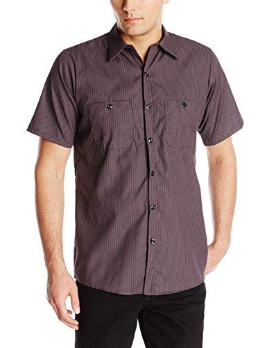 Red Kap Herren Men's Durastripe Shirt, Short Sleeve Work Utility Hemd, Charcoal/Red Twin Stripe, X-Groß -