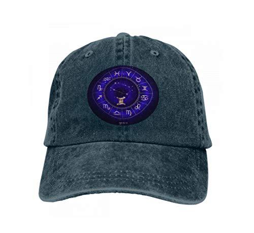 Hip Hop Baseball Cap Hat for Boys Girls Zodiac Sign Constellation Gemini Horoscope Circle sacNavy sym Navy