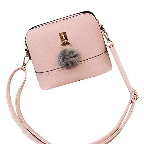 TianWlio Handtasche Damen Mode Plüschball Kuriertaschen Crossbody Schulter Taschen Rosa