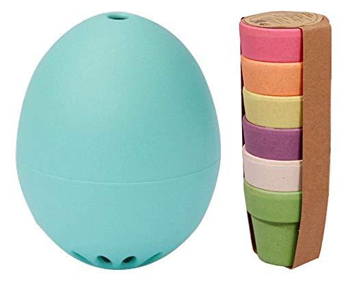 Brainstream Das Gute Laune Oster Set PiepEi Gute Laune Türkis + Zuperzozial Eierbecher 6er Set Rainbow (Mikrowellen Oster)