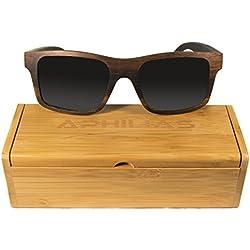 Gafas de Sol de Madera Aphilias - Diseño Exclusivo - Incomparablemente Duraderos y Ligeros - Lentes Polarizados para una Visión más Clara & Protección de los Rayos del Sol