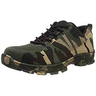 SUADEEX Damen Herren Sicherheitsschuhe Sportlich Trekking Wanderhalbschuhe Stahlkappe Arbeitsschuhe Hiking Schuhe Traillaufschuhe, Grün, 42 EU