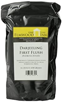 Elmwood Inn Fine Teas, Darjeeling First Flush SFTGFOP Organic Fair Trade Black Tea, 16-Ounce Pouch