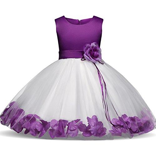 NNJXD Mädchen Tutu Blütenblätter Schleife Brautkleid für Kleinkind Mädchen Größe 19-24 Monate Lila 1 (Für 7-jährige Mädchen Kleider)
