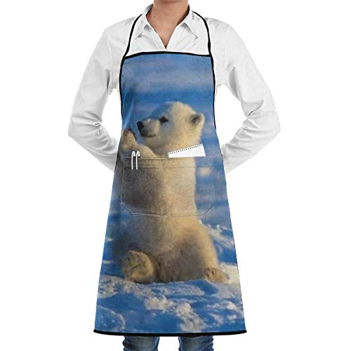 VAICR Kochschürze Küchenschürze,Apron Bib Baby Polar Bear Aprons for Women with Pockets Water Resistant Adjustable Kitchen Aprons Dish Washing Grooming Chef Aprons,Easy to Clean - Womens Polar Bear