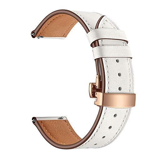Happy Event Schmetterlingsschnalle Leder Armbanduhr Armband für Samsung Gear S3 22mm (Weiß)