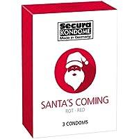 Secura Santa's Coming 3er Kondome - drei rot Präservative zur Verhütung ohne Hormone für Männer, Erdbeergeschmack preisvergleich bei billige-tabletten.eu
