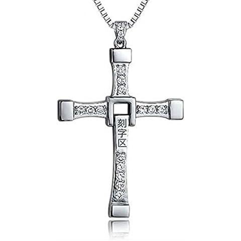 Gudeke Joyas de titanio collar cruz colgante de acero de los hombres