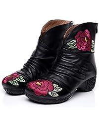 Gaslinyuan Zapatos de Cuero de la Cremallera de la Flor del Bordado de Las Botas de la Vendimia de Las Mujeres…