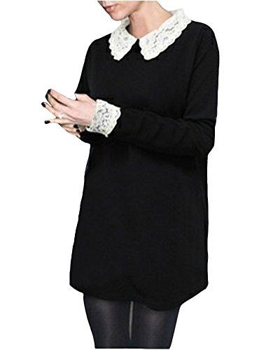 Frauen Puppe Kragen Lose Lang?rmliges Kleid Schwarz