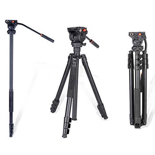 Video Professionale Treppiede Monopiede con Testa Fluida 360 Video per Canon Nikon Sony Videocamera e Fotocamera DSLR in Lega di Alluminio 70,8 pollici (KX3939)