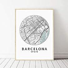 gaowei Barcelona Imprimir Mapa de la Ciudad Póster Barcelona Tipografía Moderno Arte de la Pared Pintura