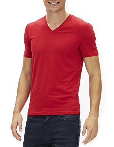 Celio Herren T-Shirt Jeuni, Einfarbig Rouge (Red 02)
