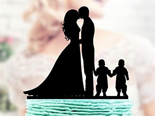 Decoración tarta diseño novia novio gemelos, decoración