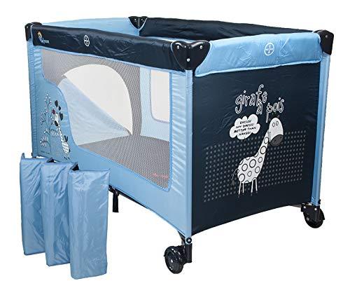 Chiccot - Una Cuna De Viaje Para Niños Con Colchón Para Dormir. Portátil y Plegable. 124 x 68 x 74 cm (Azul)