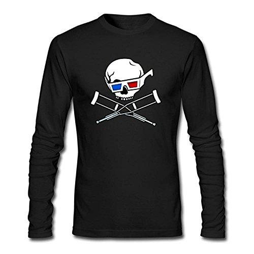 Men's Jackass Skull Glass Design Long Sleeve Cotton T Shirt