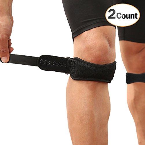 AGPTEK2PCS Genouillère Bandage SKP2 Réglable Protection Genou,Version Nouvelle Bande Silicone de maintien rotulien,Idéal genouillère pour Vélo, Courir, Crossfit, Volley, Basket, Foot et Sport, Noir