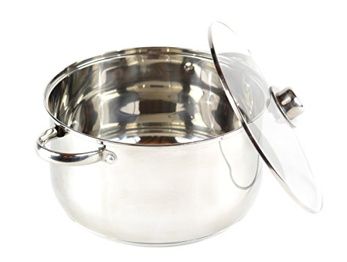 Gourmet Chef 8-Quart Stainless Steel Stock Pot with Glass Lid Kitchen Basics For Home and Restaurants - Large Stockpot with Capsulated Base, Vented Hole on Cover, and Non-heat Riveted Handles 8 Quart Stock Pot