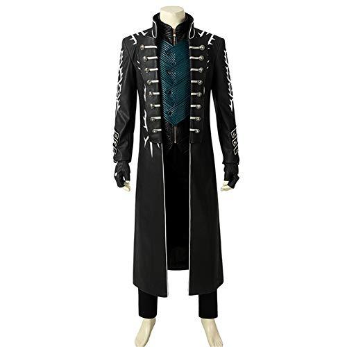 COSKEY Devil May Cry 5 Vergil Cosplay Outfit DMC Cosplay Lederjacke Halloween (Devil May Cry 5 Dante Cosplay Kostüm)
