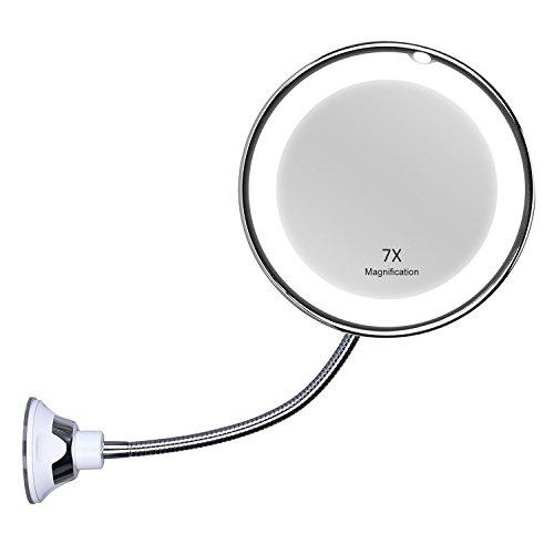 Kedum Kosmetikspiegel mit Schwanenhals, 17 cm, 7-fache Vergrößerung, LED-beleuchtet, mit starkem Saugnapf, 360 Grad drehbar, Tageslicht, batteriebetrieben, kabelloser und kompakter Reisespiegel -